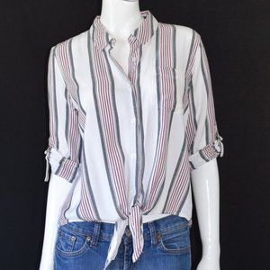 Olive & Oak Striped Tie Front Button Down Top